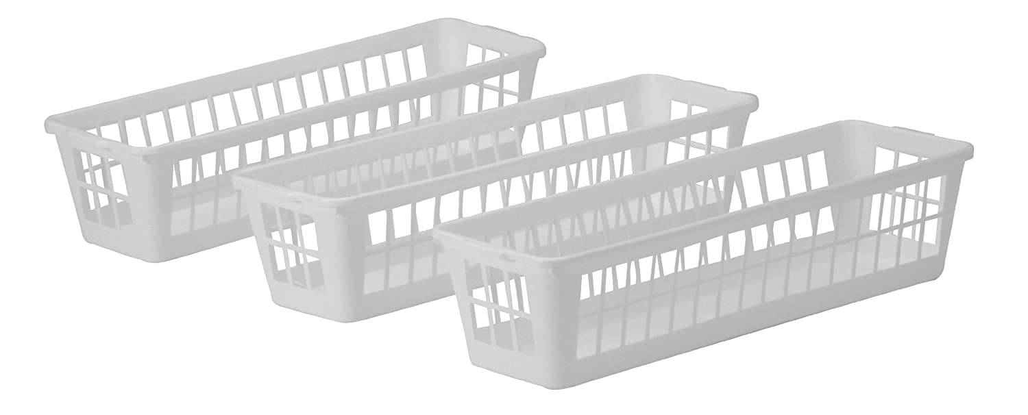 United Solutions BS0018 Three Piece White Mini Plastic Storage Set-3 Pieces Designed to Keep Items Contained-Ideal for use in Deep Drawers or Shelf Storage