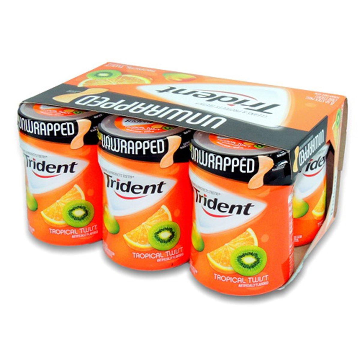 Product Of Trident, Gum Tropical Twist - Bottle, Count 6 (50Stks) - Gum / Grab Varieties & Flavors
