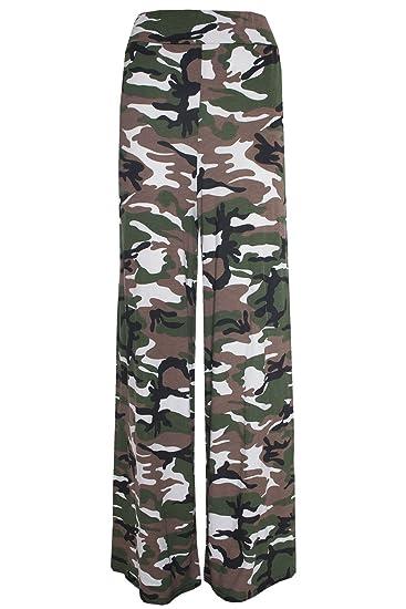 e13d96b553baa Fashion Oasis Women's Standard & Plus Plain & Floral Print Palazzo Trousers  12-14 Army