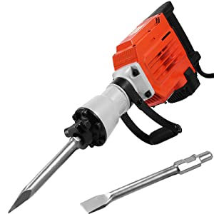 LOVSHARE 3600W Electric Demolition Hammer Heavy Duty Concrete Breaker 1400 RPM Jack Hammer Demolition Drills with Flat Chisel Bull Point Chisel