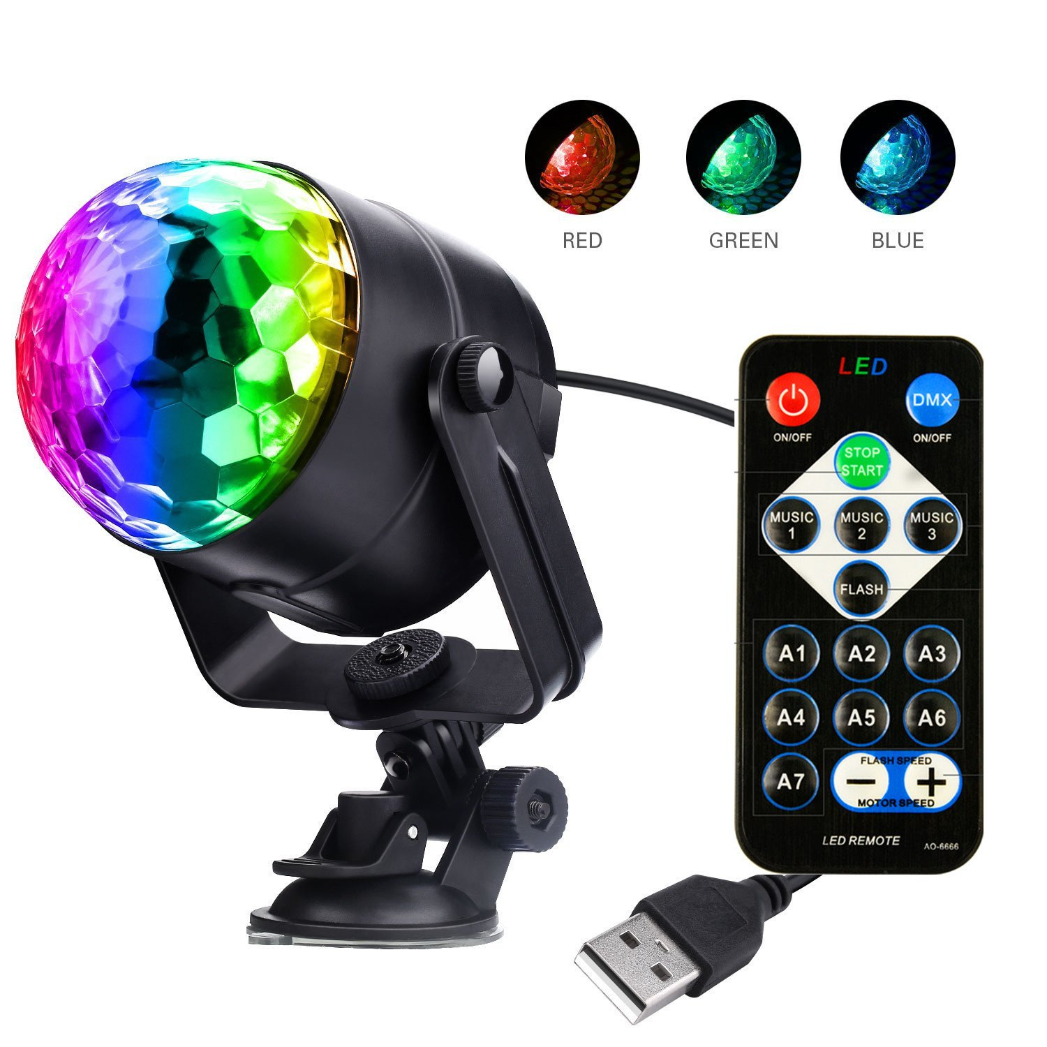 ZjRight Party Lights Sound Activated Disco Ball Party Light 7 Lighting Color Disco Lights with Remote Control for Bar Club Party DJ Karaoke Wedding Show and Outdoor