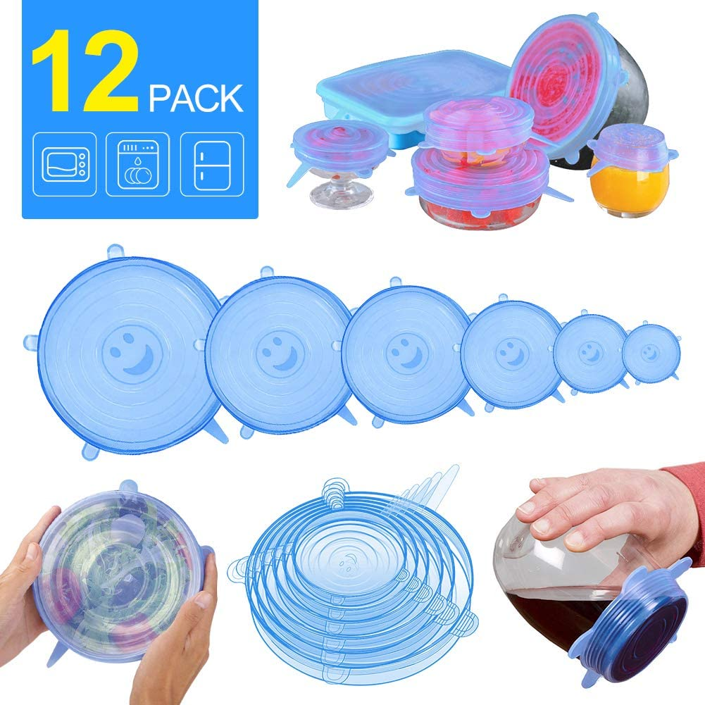 AnNido Reusable Silicone Stretch Lids, 12 Pack to Keeping Food Fresh, Durable and Expandable to Fit Various Sizes for Bowl Covers, Cups, Canned and Pans in Dishwasher, Microwave and Freezer (Blue)