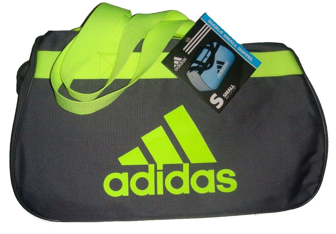 Adidas Diablo Small Duffel Gym Sports Bag Grey Neon Green