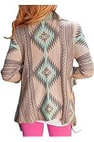 XIAFEIMANTIAN Women's Print Drape Open Front Drape Boyfriend Cardigan Sweaters