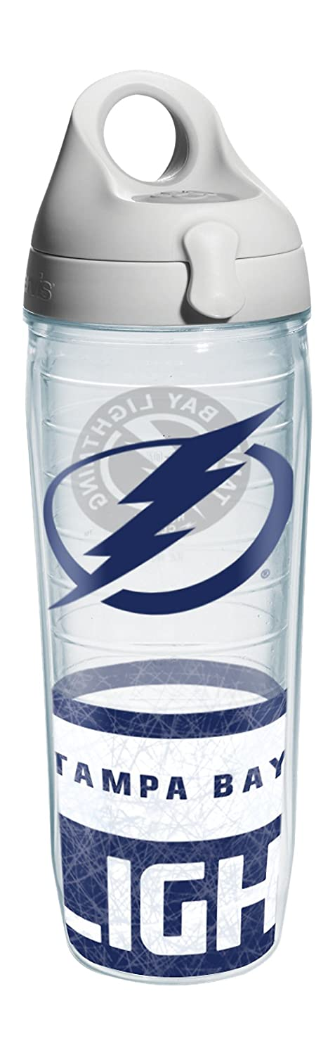 Tervis 1145526 NHL Tampa Bay Lightning Logo Wrap Water Bottle with Grau Lid, 24 oz, Clear by Tervis