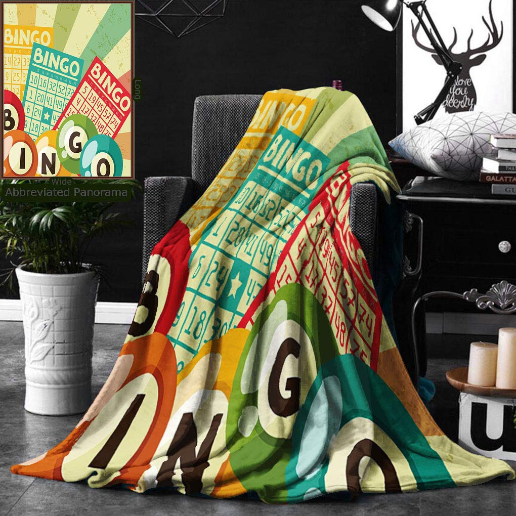 Unique Custom Double Sides Print Flannel Blankets Vintage Decor Bingo Game With Ball And Cards Pop Art Stylized Lottery Hobby Celebr Super Soft Blanketry for Bed Couch, Throw Blanket 50 x 60 Inches by Ralahome