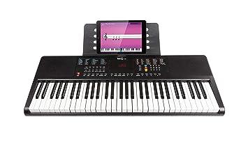 RockJam RJ361 Teclado de piano digital portátil de 61 teclas con soporte para música, fuente