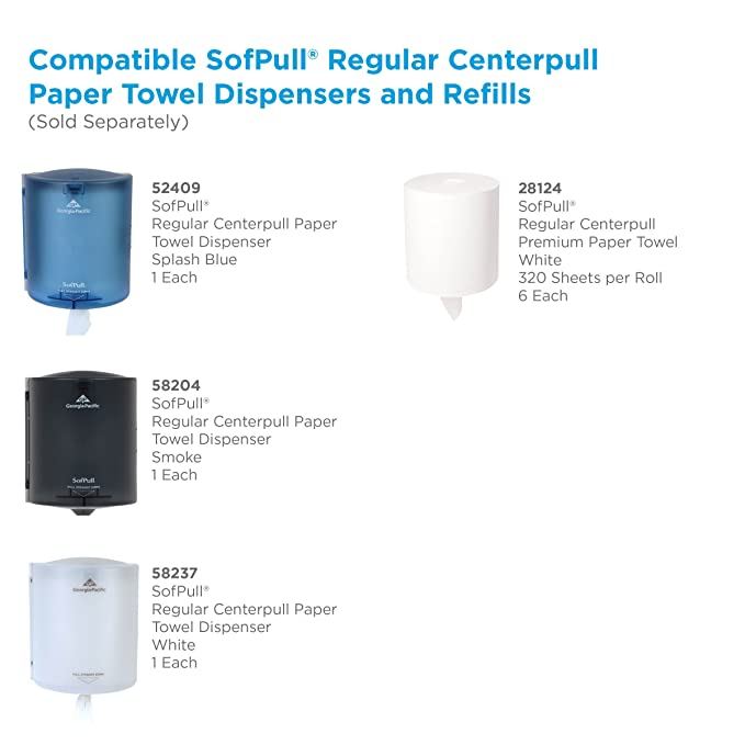 Amazon.com: Georgia-Pacific SofPull Centerpull Regular Capacity Paper Towel by GP PRO, White, 28124, 320 Sheets Per Roll, 6 Rolls Per Case: Industrial & ...