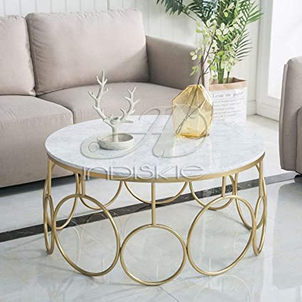 Indiskie Round Tea Marble Gold Finish Round Coffee Table Center Tables Living Room Furniture Amazon In Home Kitchen