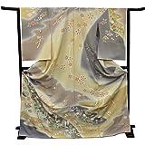 きもの京小町 正絹訪問着 未仕立て 仮絵羽 グレー・ベージュ地手綱取りと四季の花模様