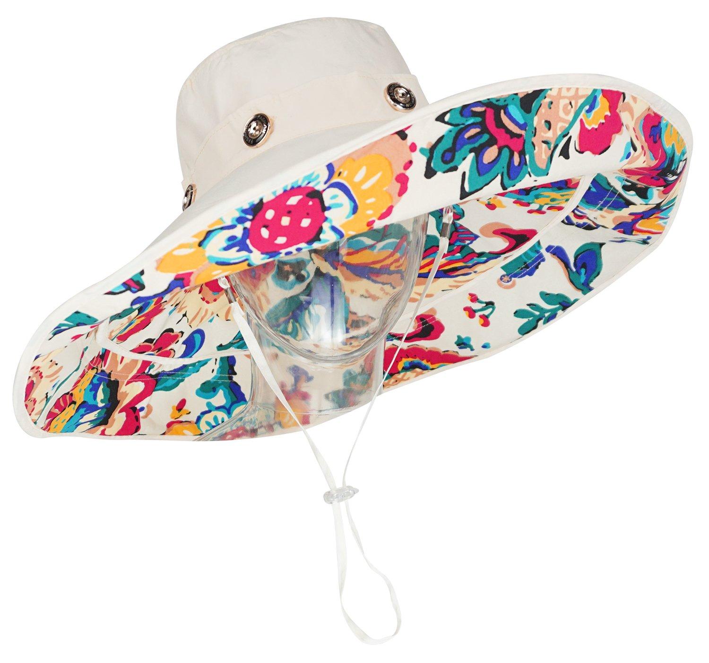 6715057d7e8 Bienvenu Women Summer Sun Cap Wide Brim Beach Bohemia Foldable UPF 50+  Travel Beach Sun Visor Bucket Hat Beige - ZLM00002617   Sun Hats   Clothing