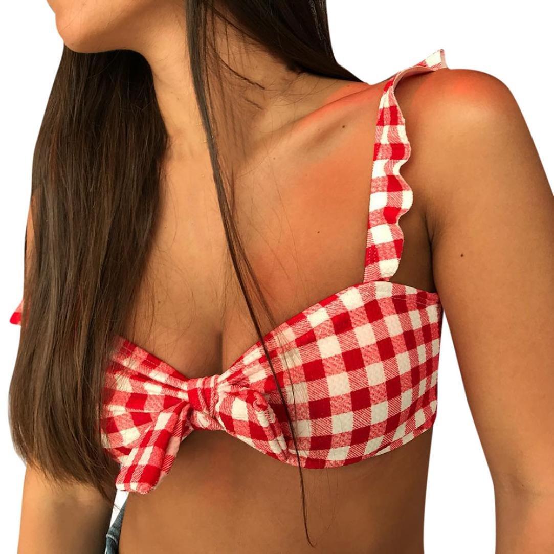 PAOLIAN Trajes de baño de Dos Piezas Bikini Sexy Mujer Verano 2018 Ropa de Bañador Playa señora Impreso Cuadros Bikini con Bowknot Volantes Push Up Cintura ...