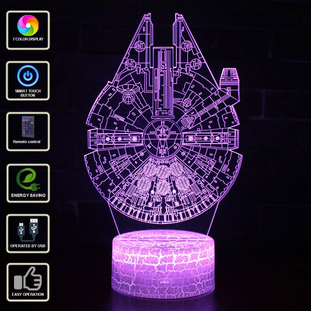 3D Illusion Lampe NHSUNRAY 7 Farben LED Touch Tischleuchte mit Fernbedienung Nachtlicht F/ür Schlafzimmer Home Decoration Hochzeit Geburtstag Weihnachten Valentine Geschenk