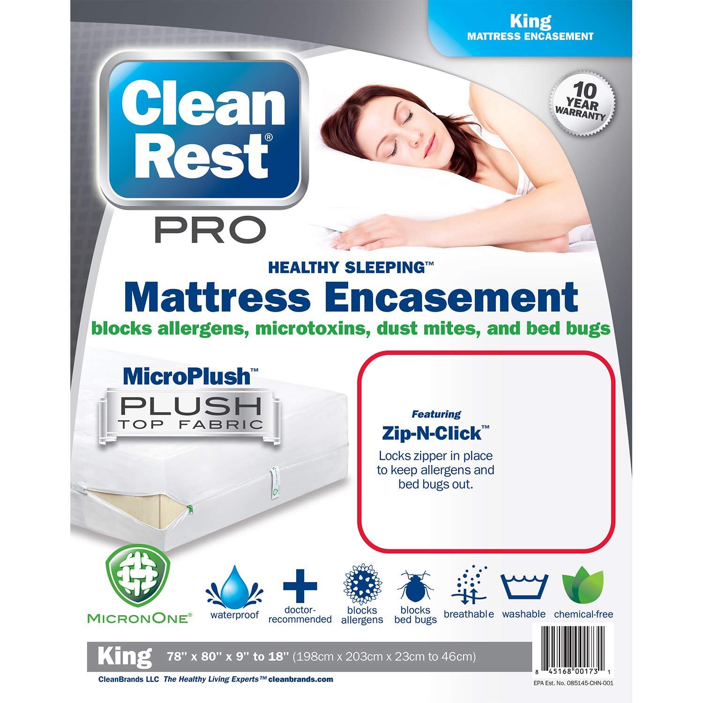 Clean Rest Pro Waterproof, Allergy and Bed Bug Blocking Mattress Encasement, California King Clean Brands 845168001748