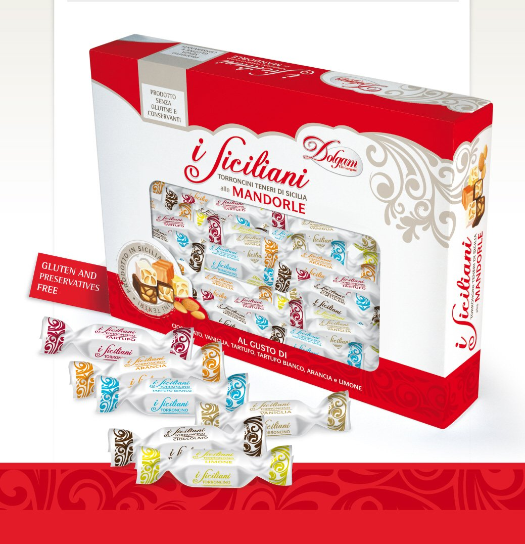 I Siciliani 17.6oz (500g.) Soft Almond Torrone Nougat Covered in variety flavors of chocolate bite size Individually wrapped Assorted Mix in a nice Gift box approx. 40-42 pieces made in Sicily.**NO PRESERVATIVES & GLUTEN FREE ** You won't be disappointed