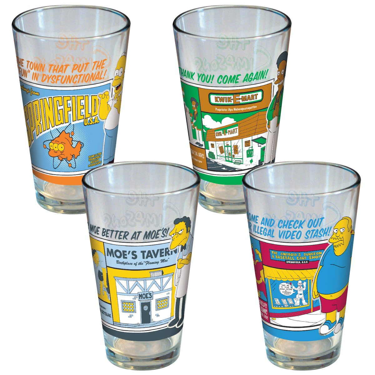 ICUP Simpsons Greetings from Springfield, Homer, Moe, Apu, Comic Book Guy Pint Glass, 4-Pack 10623
