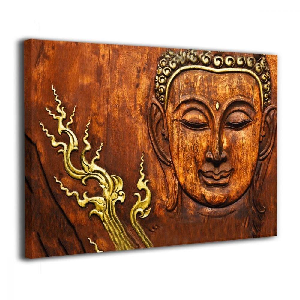 Okoart Canvas Wall Art Prints Thai WWood Buddha Photo Paintings Modern Decorative Artwork For Living Room Wall Decor And Home Decor Framed Ready To Hang 16x20inch
