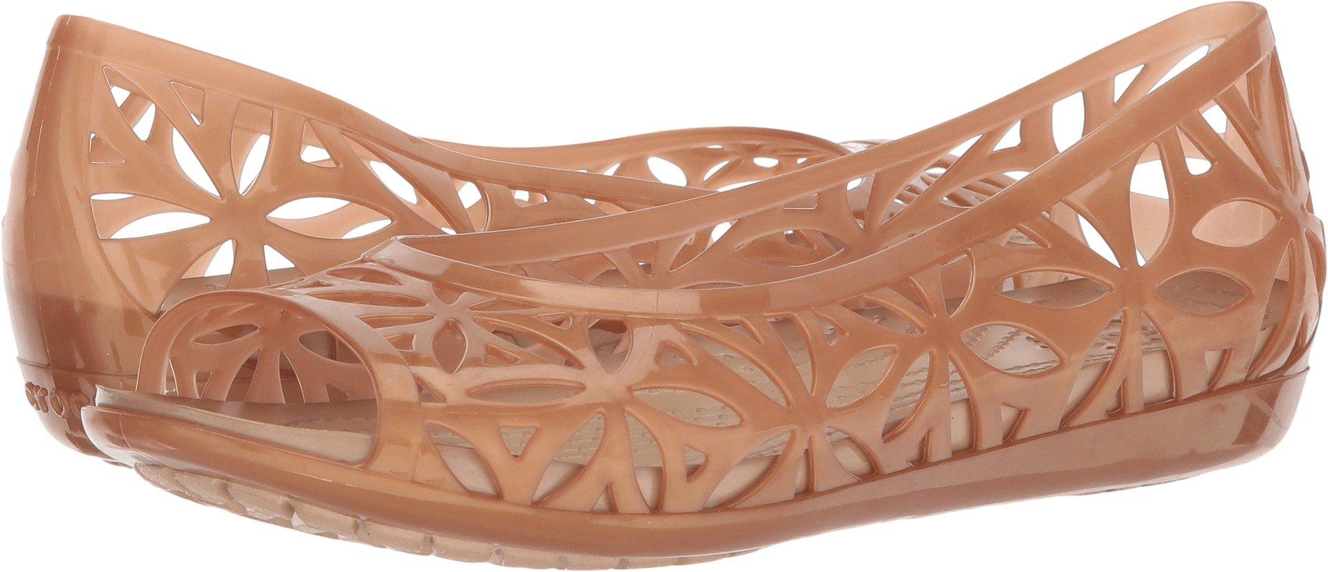 Crocs Women's Isabella Jelly II Flat W Sandal, Dark Gold/Gold, 8 M US