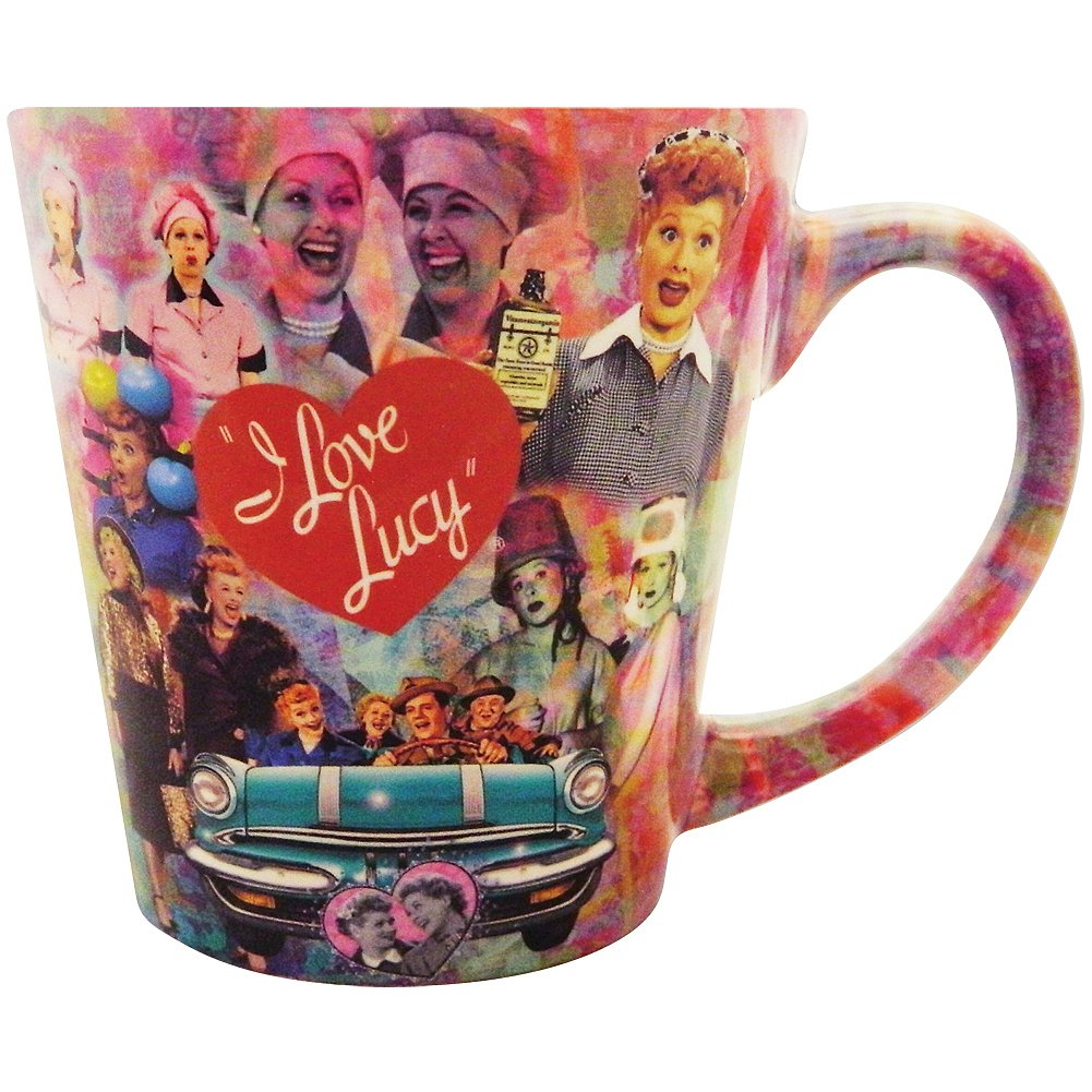 I Love Lucy Bold & Bright Collage Latte Styled Ceramic Mug - Holds 12 Ounce