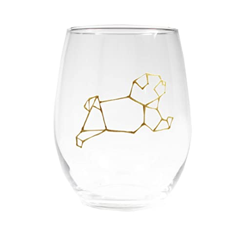 Dog Wine Glass Geometric Gold Stemless 21oz Painted Animal Lover Birthday Gift Lovers Gifts