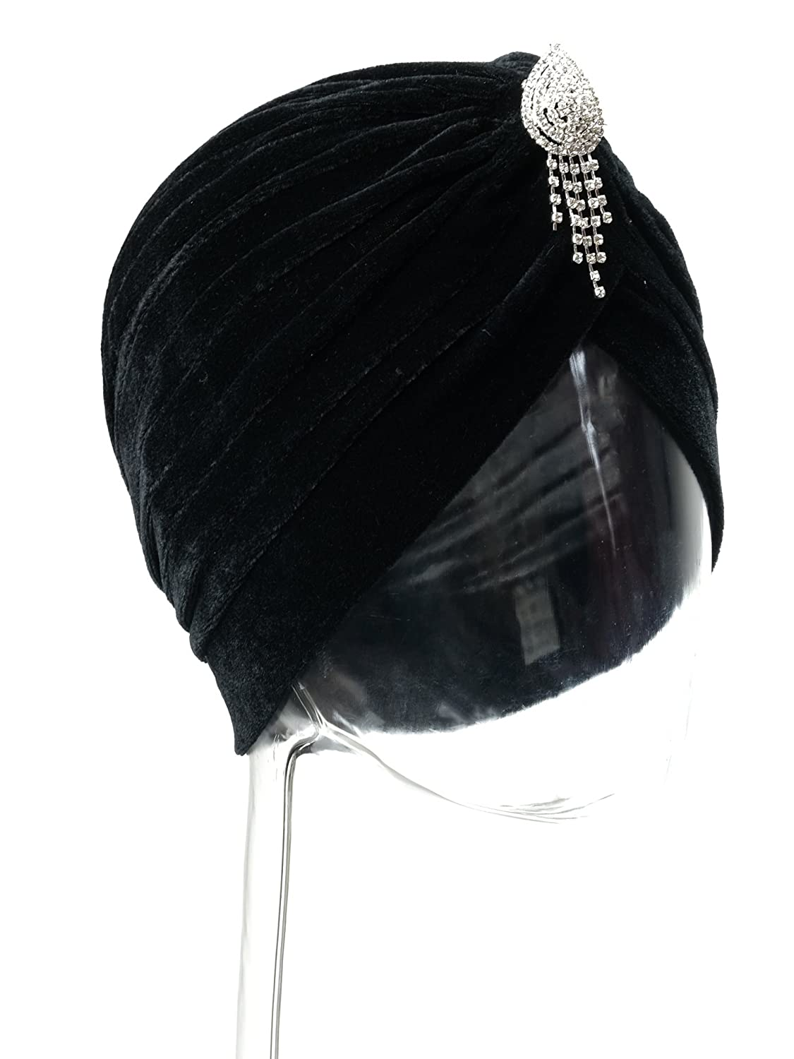 1930s Style Hats | Buy 30s Ladies Hats Vintage 20s 30s 50s Twist Pleated Velvet Knotted Stretch Turban Hat Head Wrap $10.29 AT vintagedancer.com