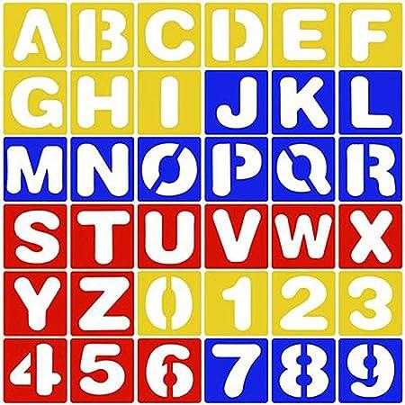 4 X Schablone Set Buchstaben Alphabet Kunst Handwerk Zeichnen Schule Nummer
