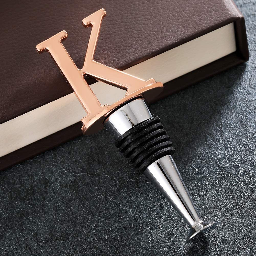 Individual Package Reusable Wine Stopper Suitable for Party and Wedding Wine Stopper Letters Wine Bottle Stopper with Rose Gold Letter A 26 Letters to Choose