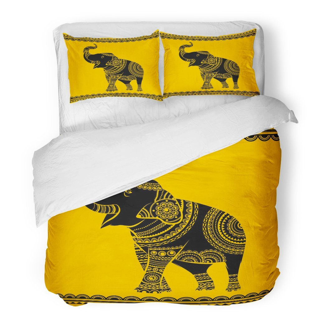 SanChic Duvet Cover Set Ornate Elephant Ideal Ethnic Tattoo Yoga African Indian Thai Spirituality Boho Design Decorative Bedding Set 2 Pillow Shams King Size