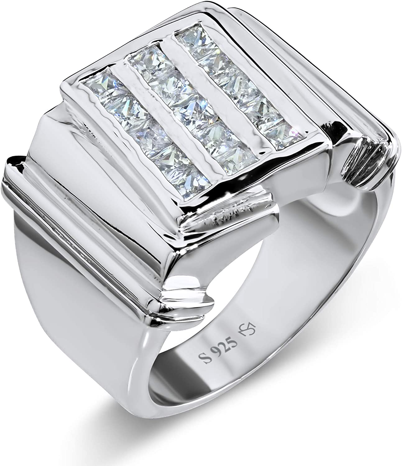 [2-5 Days Delivery] Men's Elegant Sterling Silver .925 Triple Row Ring with Fancy Cubic Zirconia (CZ) Channel Set Stones, Platinum Plated.
