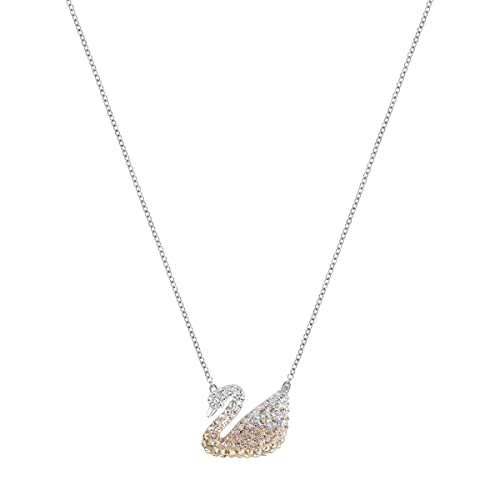 SWAROVSKI Crystal Authentic Iconic Multi-Colored Swan Pendant Rhodium Plated Necklace – Fancy Diamond Accessory for Women
