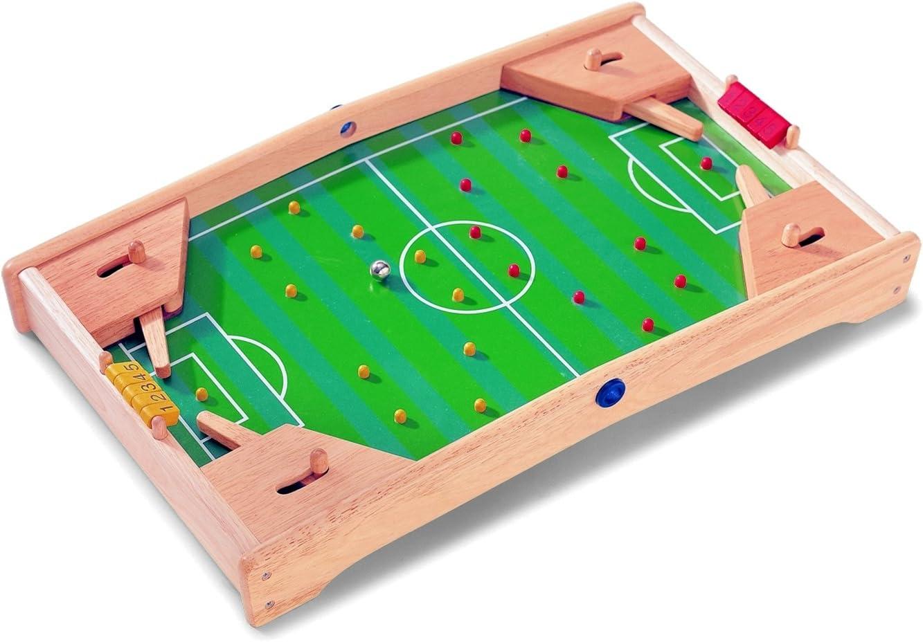 Fútbol – Flipper de Pintoy – 60 cm – Natural belassenes juguete de madera maciza – Juego de habilidad para 2 jugadores de fútbol – Mesa Flipper futbolín de madera fussballtisch –