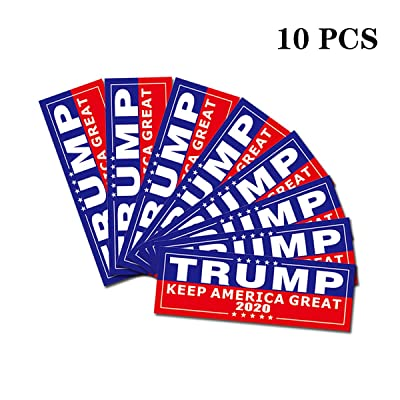 Trump 2020 Car Bumper Sticker Decal, 9'' x 3'' Keep America Great Car and Truck Bumper Stickers, Waterproof, Removable, Anti-UV, 2020 United States Presidential Election - Red(10 Pcs): Automotive