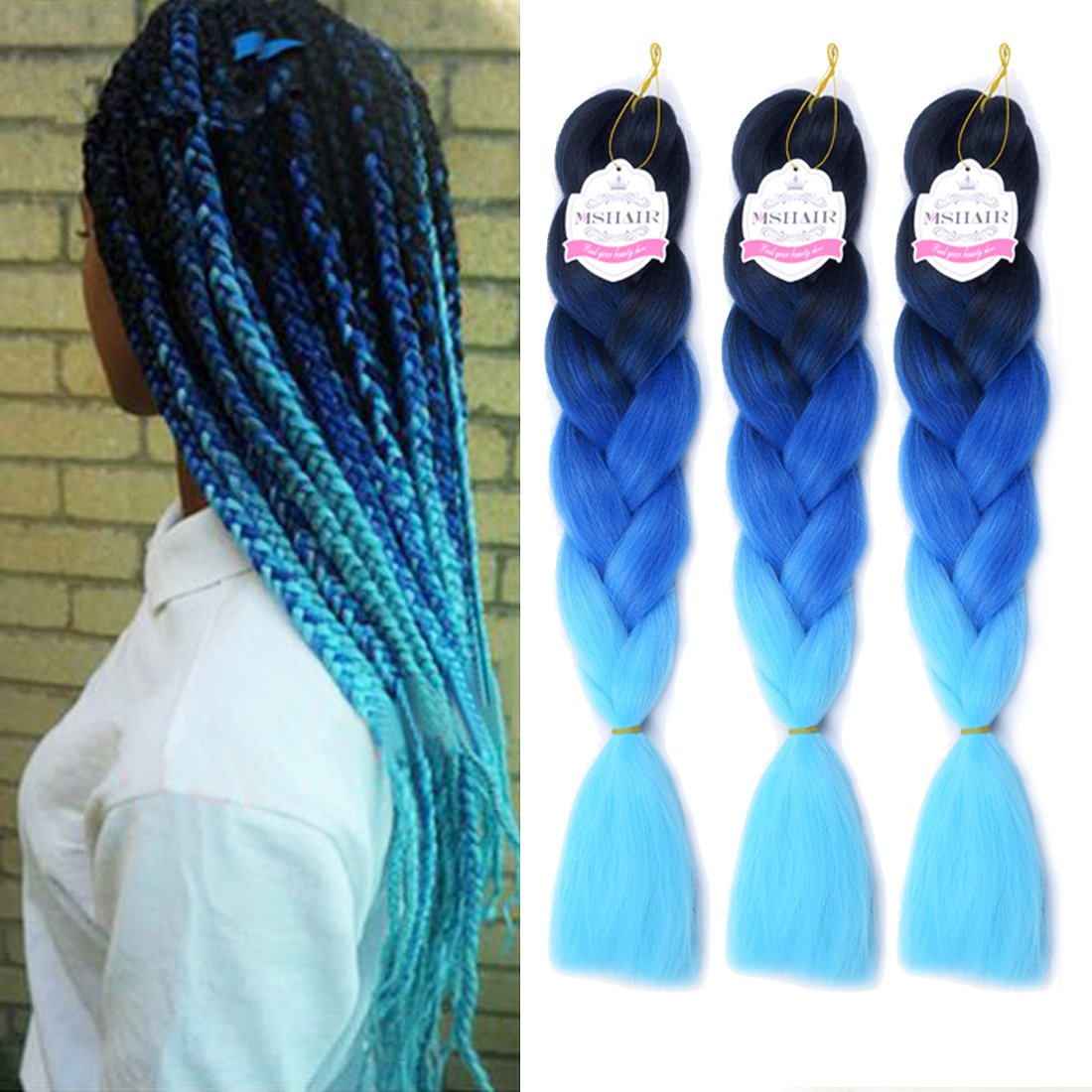 MSHAIR Ombre Jumbo Braiding Hair Extension Synthetic Kanekalon Fiber for Twist Braiding Hair Black/Blue/Light Blue Color 24 Inch 3 Pieces/lot