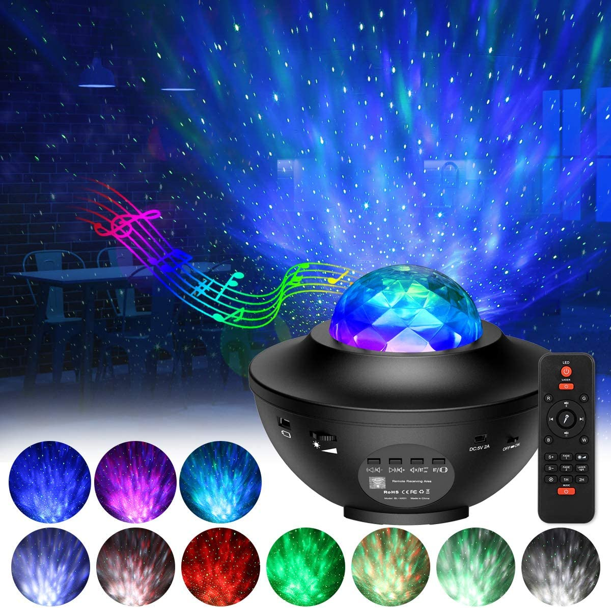 AMIR Upgraded Night Light Projector, Star Projector, Ocean Wave Projector, Night Light Projector with Bluetooth Speaker for Baby Kids Bedroom, Game Rooms, Home Theatre, Voice Control& Remote Control