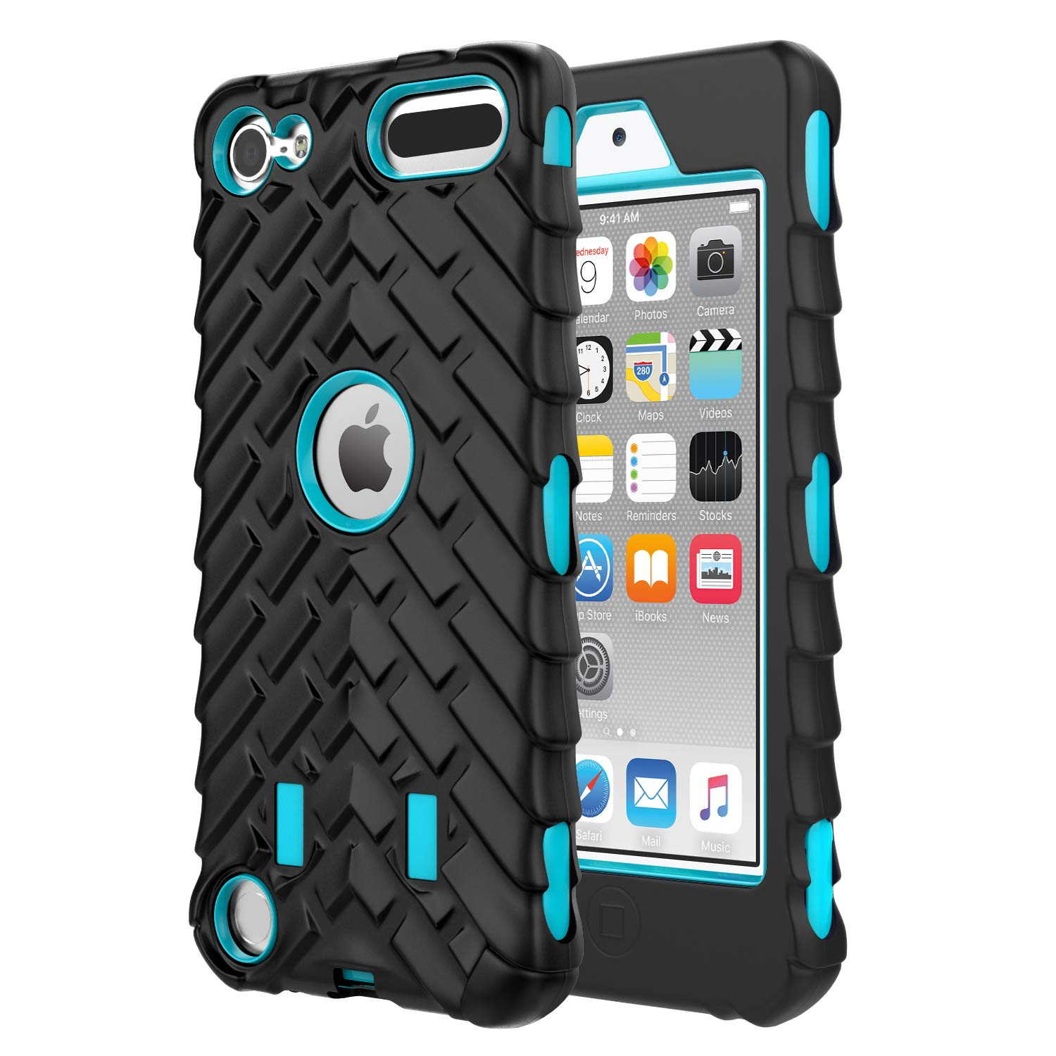 MoKo Case for iPod Touch 6 / iPod Touch 5, 3 in 1 Heavy Duty Shock Absorbing Hybrid Bumper Protective Case Cover for Apple iPod Touch 6th / 5th Generation, Black