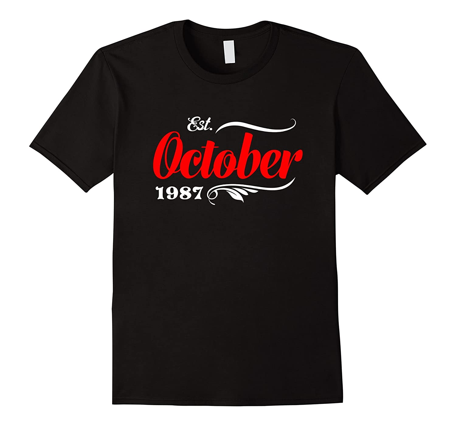 30th Birthday Gifts - Est October 1987 T-Shirt-TJ