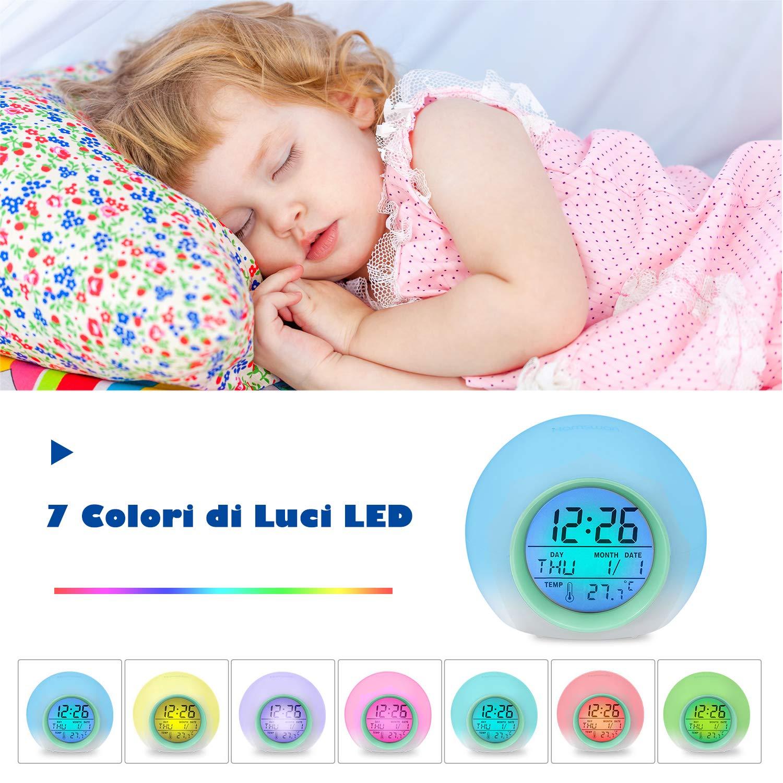 Sveglia con 7 Colori di Luci LED e 8 Tipi di Suoni 12//24 Ore HAMSWAN Sveglia Digitale Sveglia per Bambini