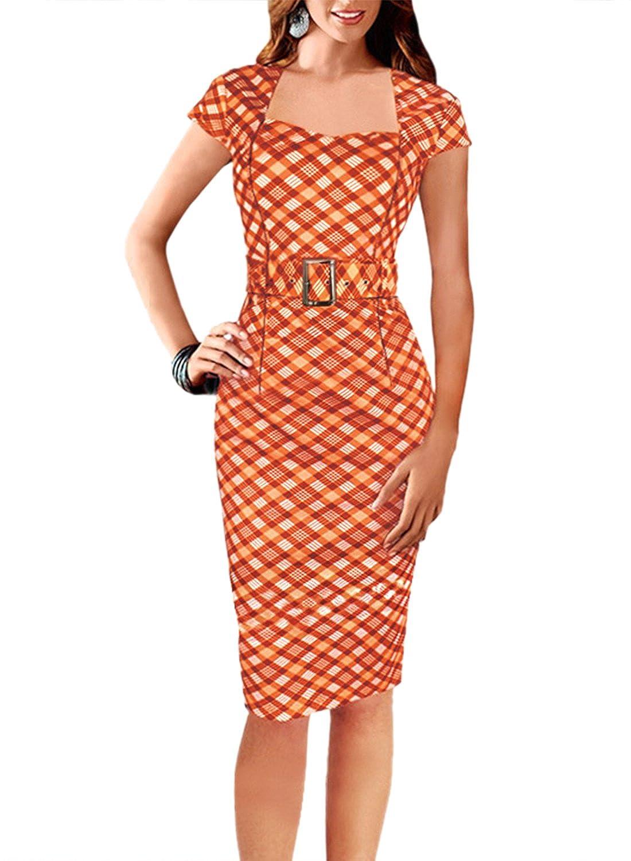 Fordestiny Damen Kurzarm Schleife Cocktailkleid 1950er ...