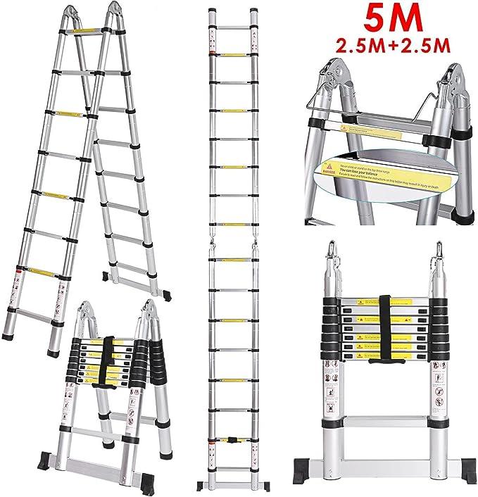cooshional Escalera Telescópica de Aluminio 5 Metros 2.5M+2.5M 16 ...