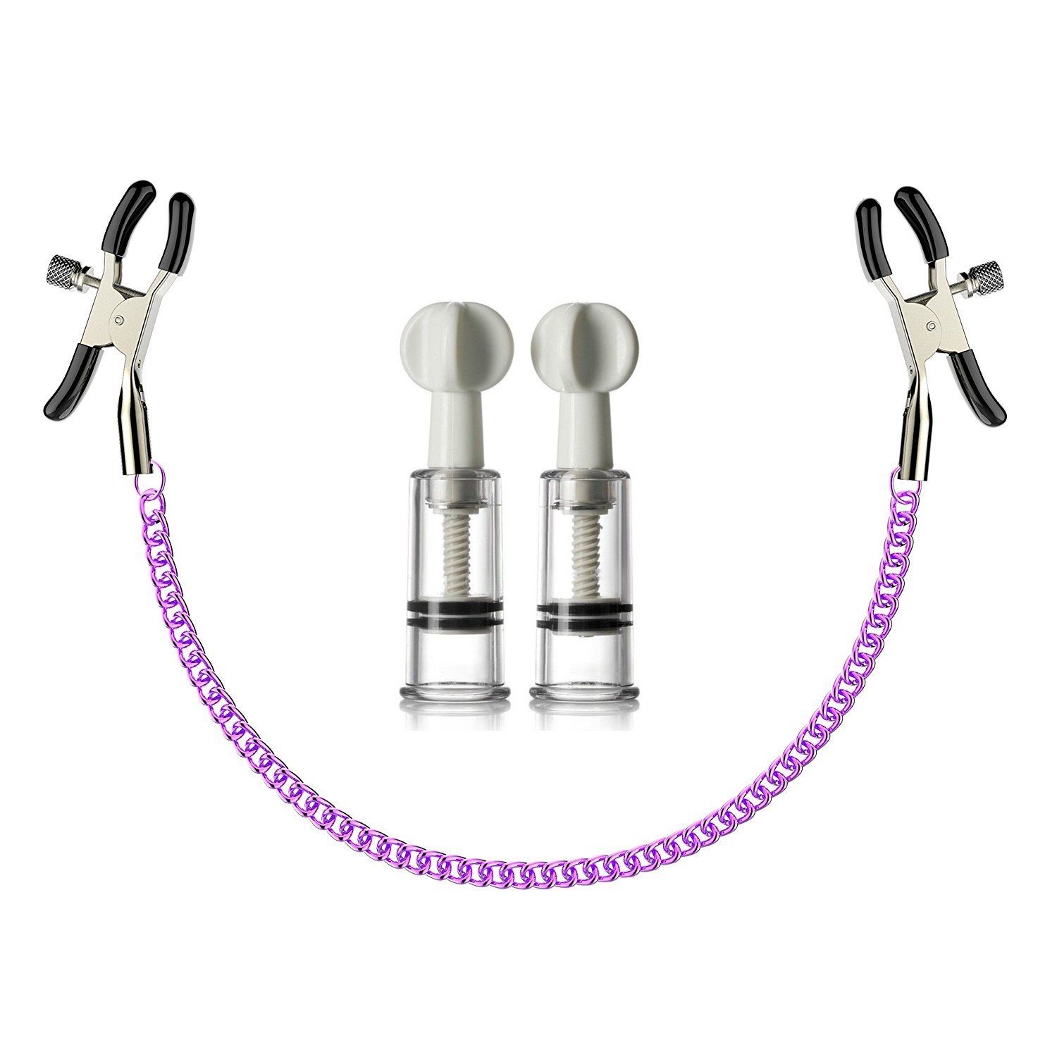 Nipple Suckers and Sexy Nipple Clamps Chain Fashion Purple Entertaining Chain with Nipple Clips
