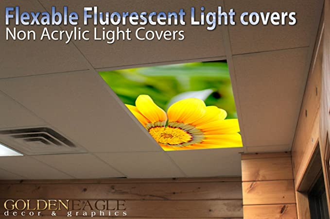 Sun Flower   2ft X 4ft Drop Ceiling Fluorescent Decorative Ceiling Light  Cover Skylight Film