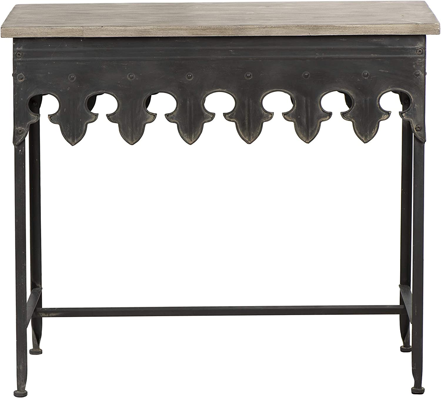 Creative Co-op Metal Scalloped Edge Table Wood Top, Distressed Dark Grey