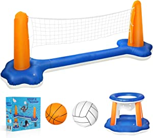 Cuddlens Inflatable Pool Float Set Volleyball Net & Basketball Hoops; Balls Included for Kids and Adults Swimming Game Toy, Floating, Summer Floaties, Volleyball Court