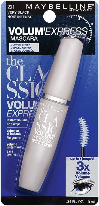 6c6f6841340 Maybelline New York Volum' Express Curved Brush Washable Mascara, 221 Very  Black, 0.34