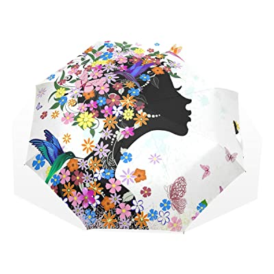 LORVIES Flowers Girl Custom Foldable Sun Rain Umbrella Wind Resistant Windproof Folding Travel Umbrella