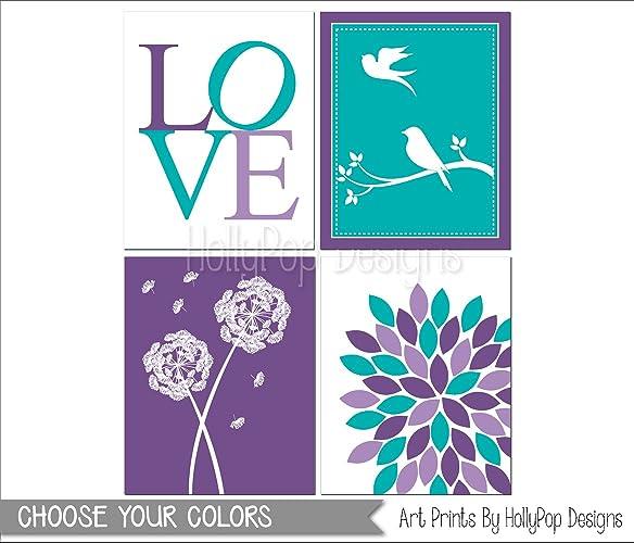 Amazon.com: Purple turquoise girls room decor, Tween girl wall art ...