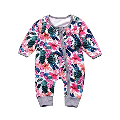 026295d7c Amazon.com  Baby Girls  Footless Onesies Infant Floral Long Sleeve ...