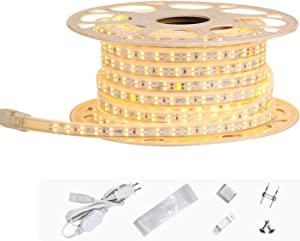 Shine Decor AC 110V-120V LED Strip Light 50FT, Dimmable Double Row Cold-Resistant Minus 13F Cuttable Rope Lights, 3000K Warm White IP65 Waterproof Indoor Outdoor String Lighting Decoration(7x15mm)