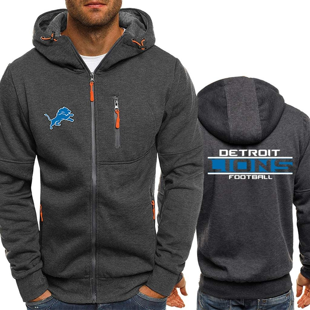 CHANGRAN Mens Fall//Winter Rugby Jersey Detroit Lions Long-Sleeved Zipper Sweater Plus Velvet Padded Hooded Sports Jacket Football Training Suit