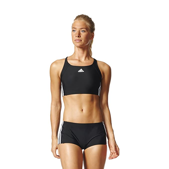 adidas Damen Essence Core 3-Stripes Bikini Schwarz/Weiß